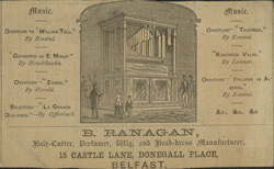 Advert for B Ranagans, hairdressers, reverse side